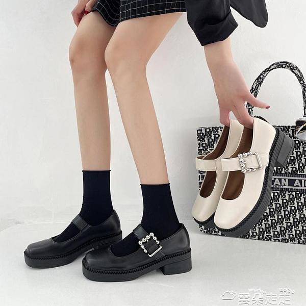 小皮鞋網紅瑪麗珍小皮鞋日系厚底方頭淺口中跟學院風復古一字扣單鞋女潮 雲朵