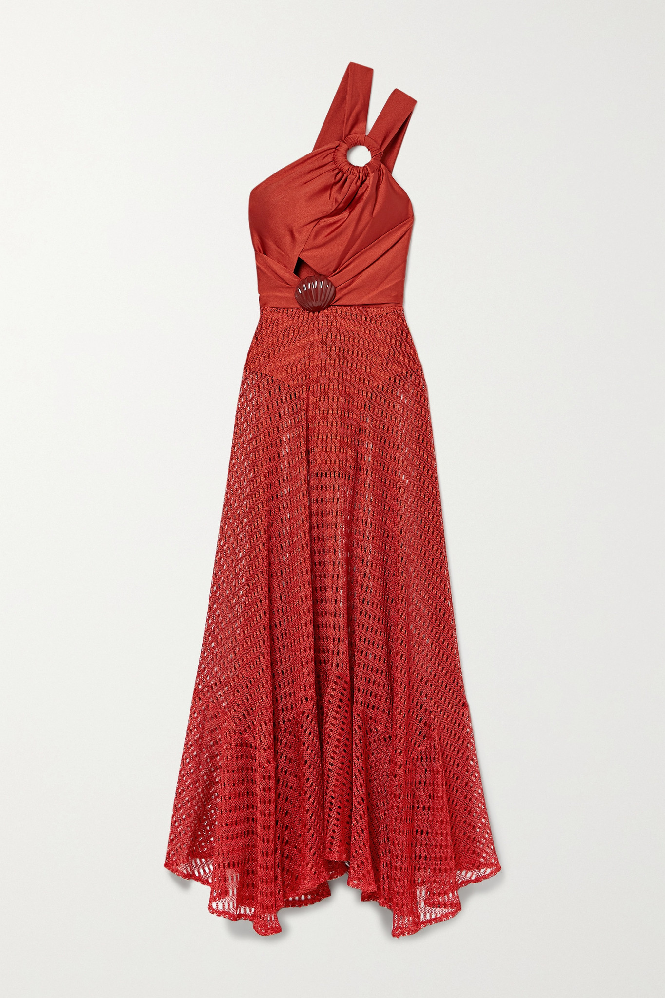 PATBO - Embellished Satin-jersey And Crochet-knit Maxi Dress - Red - large