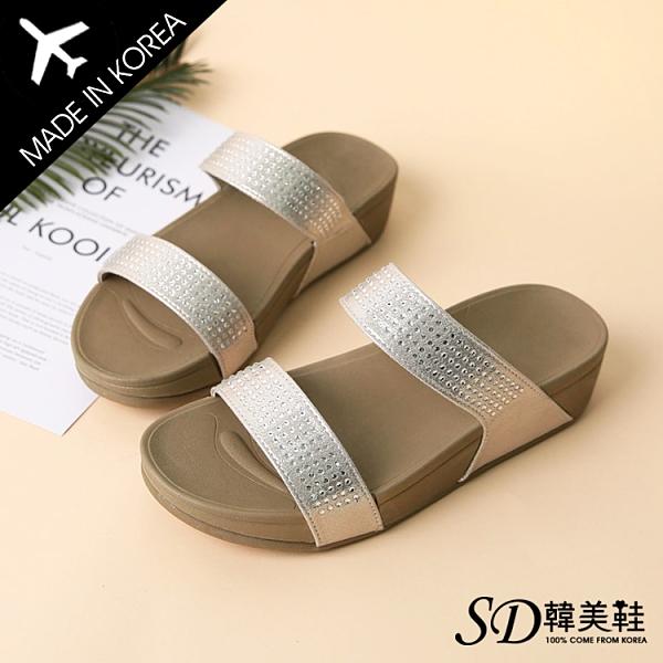韓國空運 正韓製 立體水鑽設計 舒適彈力鞋墊 4cm楔型涼拖鞋【F713125】版型正常/SD韓美鞋