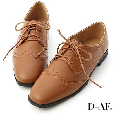 D+AF 紳士主張.拷克車線綁帶牛津鞋*棕