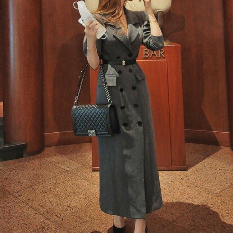 女裝2021秋季新款韓版OL氣質修身雙排扣時尚長款大衣西裝外套