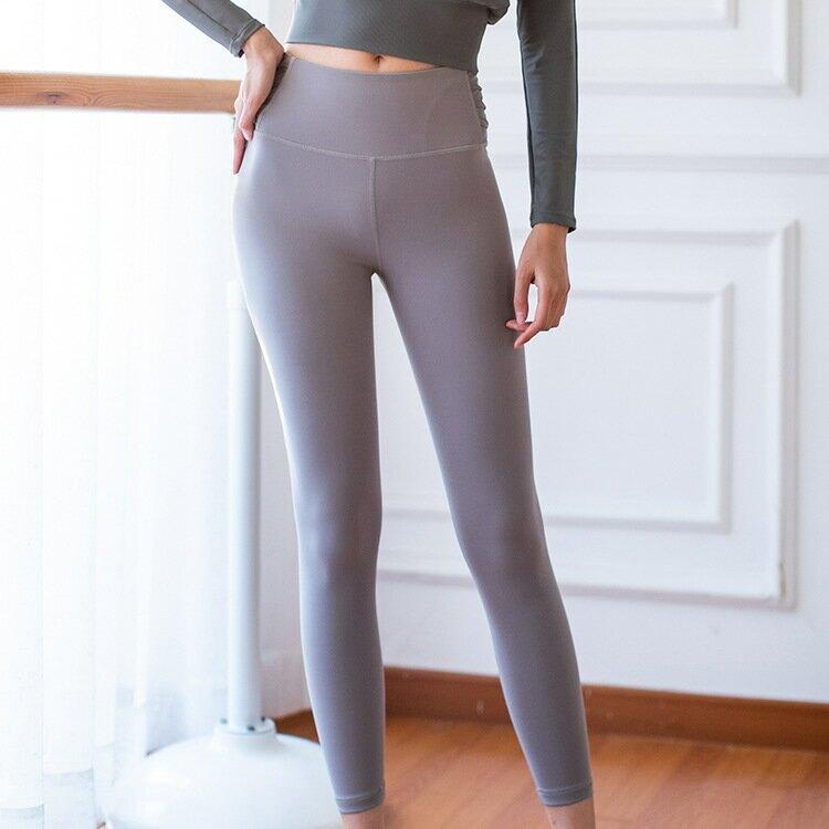 2021裸感雙面磨毛高彈瑜珈褲高腰提臀運動健身褲九分褲