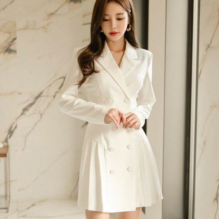 女裝2021新款名媛OL氣質西裝領修身雙排扣時尚百褶連衣裙