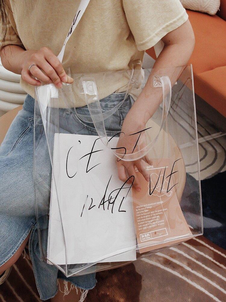 透明果凍包 ins斜挎單肩果凍網紅包簡約透明包包女夏季時尚潮流大容量pvc包 【CM2249】