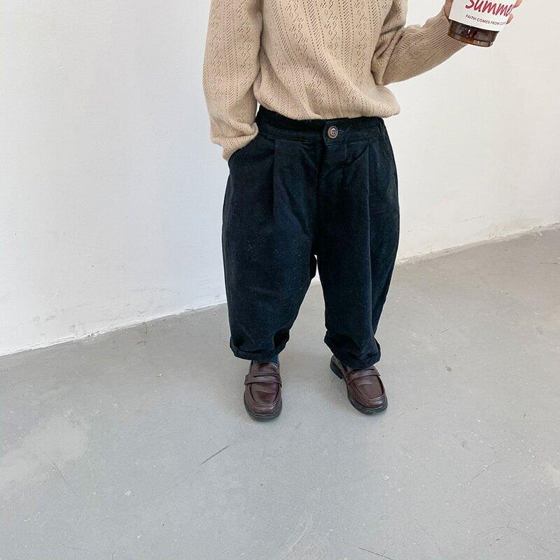 【左左王子】童裝2020秋冬新款韓版男女童磨毛加絨長褲兒童蘿蔔褲