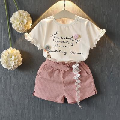 Baby童衣 女童套裝 時尚花邊短袖套裝 88679