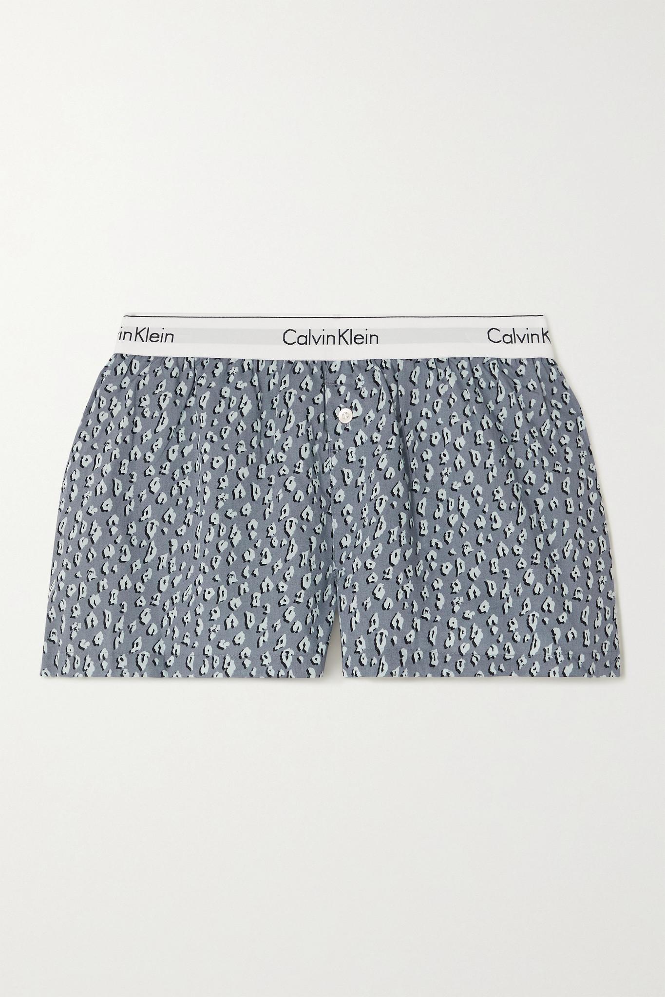 CALVIN KLEIN UNDERWEAR - 豹纹纯棉短睡裤 - 灰色 - x large