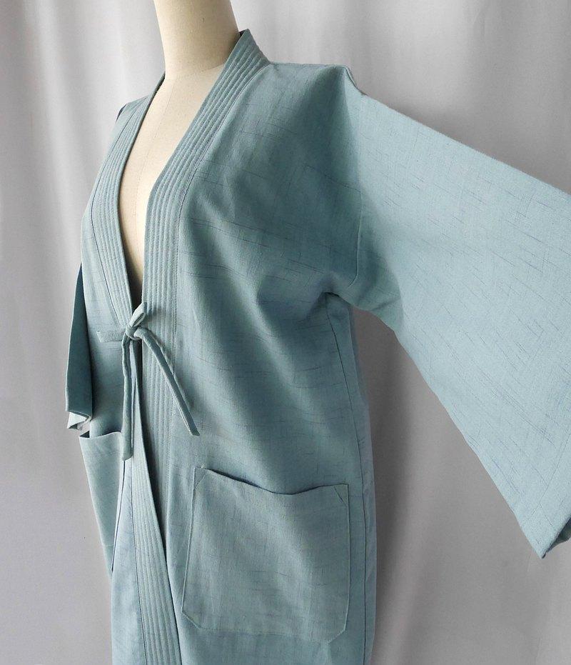 手工編織的棉質領結和服長袍(海綠色)