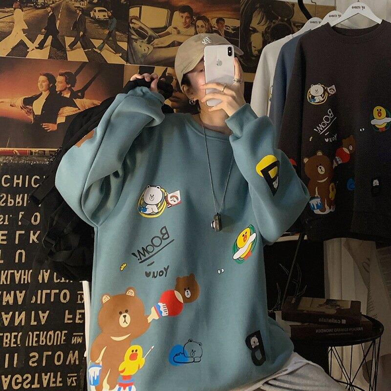 衛衣男港風潮流2020男士秋冬卡通印花圓領寬鬆衛衣休閒百搭上衣潮