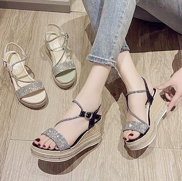 坡跟涼鞋 坡跟涼鞋女新款夏季時裝百搭鬆糕增高厚底夏天仙女風高跟鞋