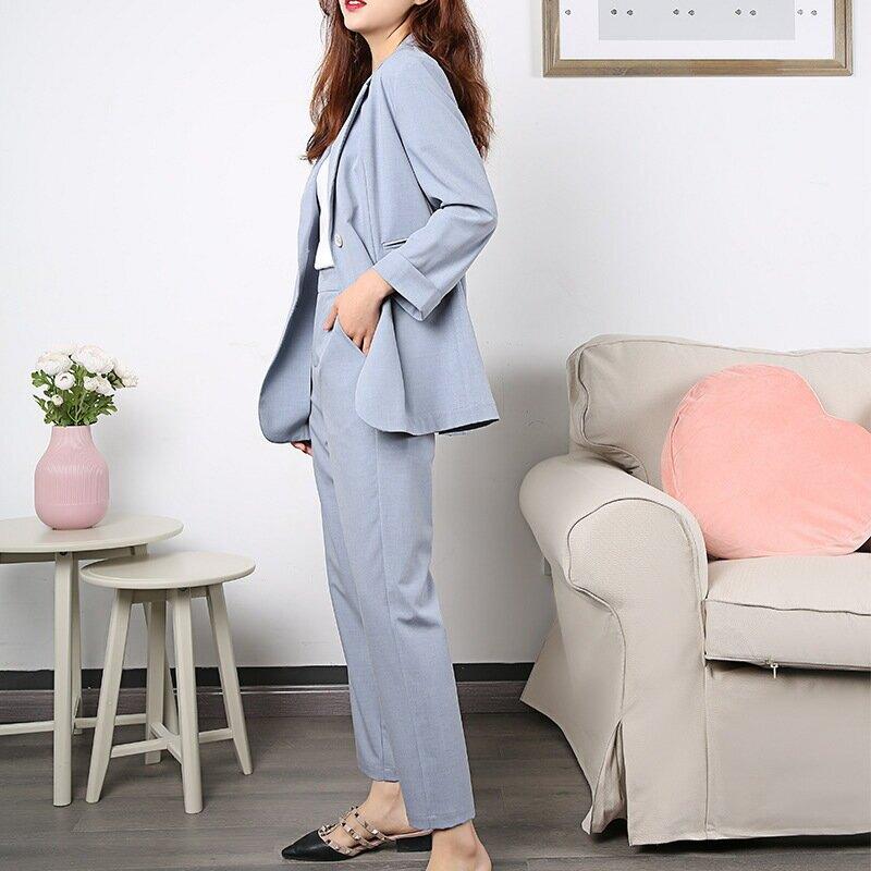 2021春夏新款小西裝套裝女時尚洋氣九分小腳褲韓版西服兩件套
