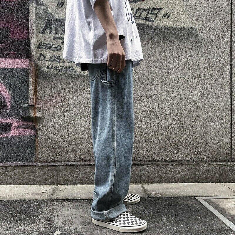 男士工裝牛仔褲港味潮流寬鬆墜感直筒闊腿褲男褲子日系情侶老爹褲