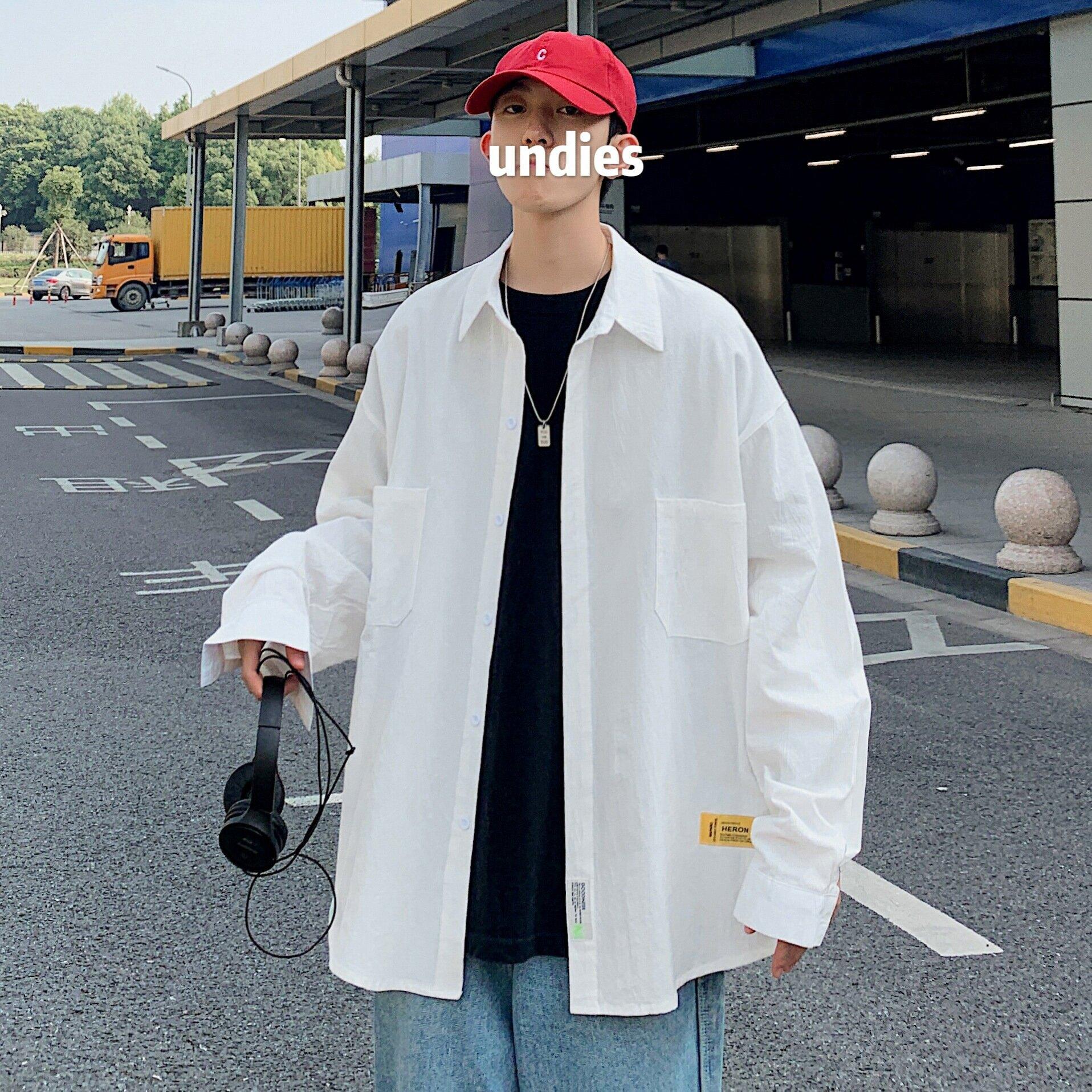 長袖襯衫男韓版潮流薄款襯衣夏季寬鬆休閒上衣男士港風百搭外套