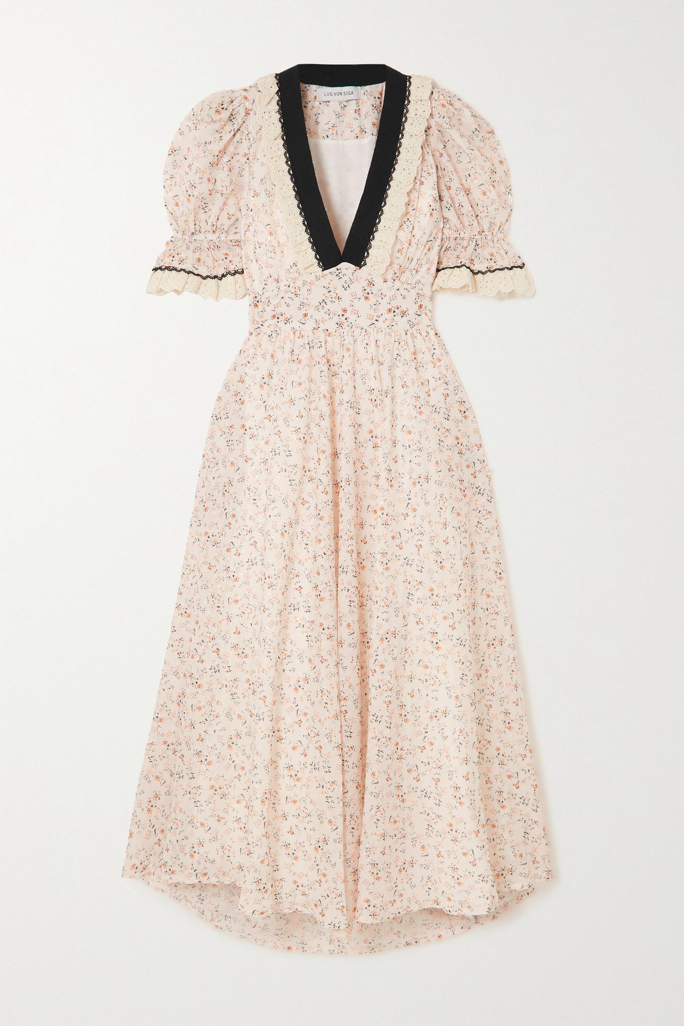 LUG VON SIGA - Sabrina Belted Crochet-trimmed Floral-print Crepe Maxi Dress - Neutrals - FR38