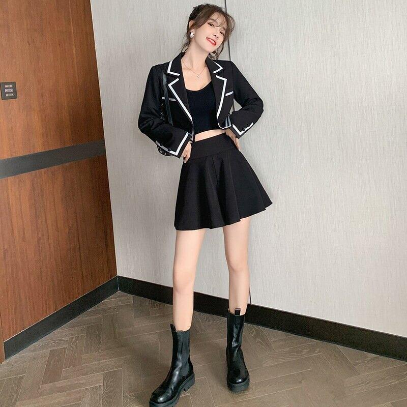 法式復古時尚套裝短裙2021春裝新款兩件套氣質修身小西服外套