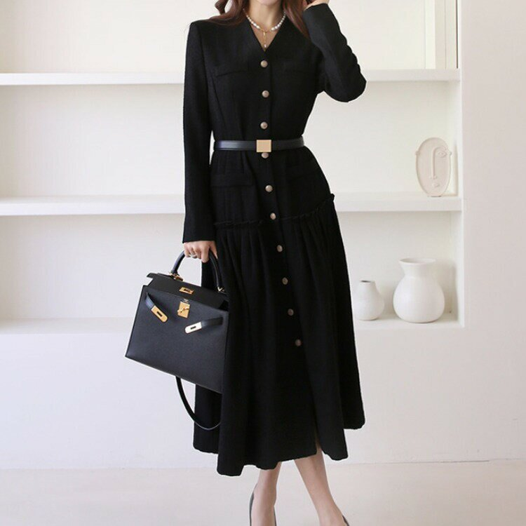 2021春裝新款韓版氣質V領長裙單排扣拼接大擺裙外套式連衣裙