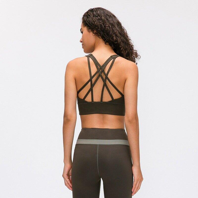 2021瑜珈運動文胸美背聚攏無鋼圈防震跑步運動內衣女