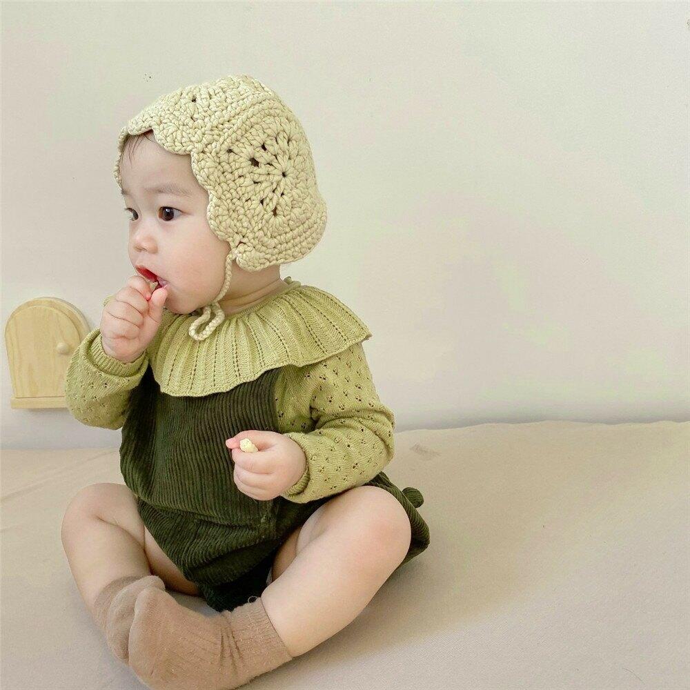 INS款女寶寶洋氣綠色燈芯絨揹帶褲女童可愛連體爬服配荷葉領毛衣