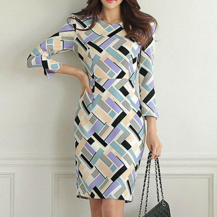 女裝2021春新款韓版時尚氣質格子印花OL氣質禮服裙連衣裙