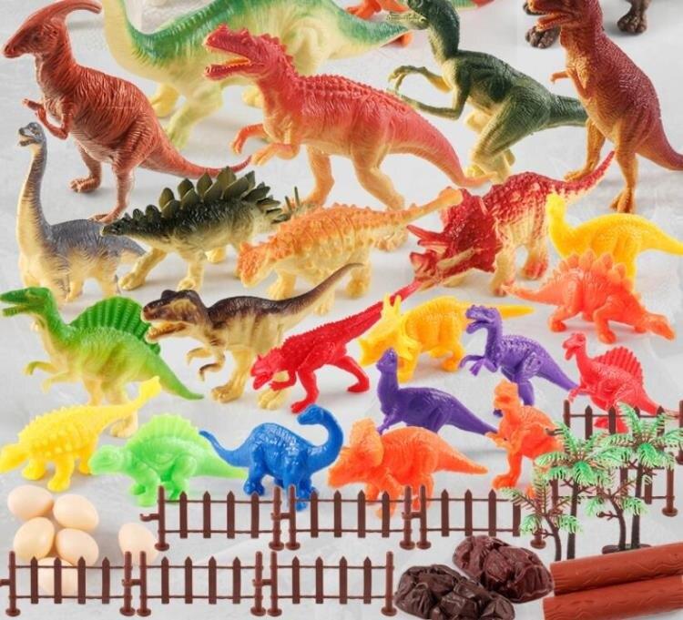 電動玩具 恐龍玩具男孩兒童套裝仿真動物超大軟塑膠模型小三角龍霸王龍