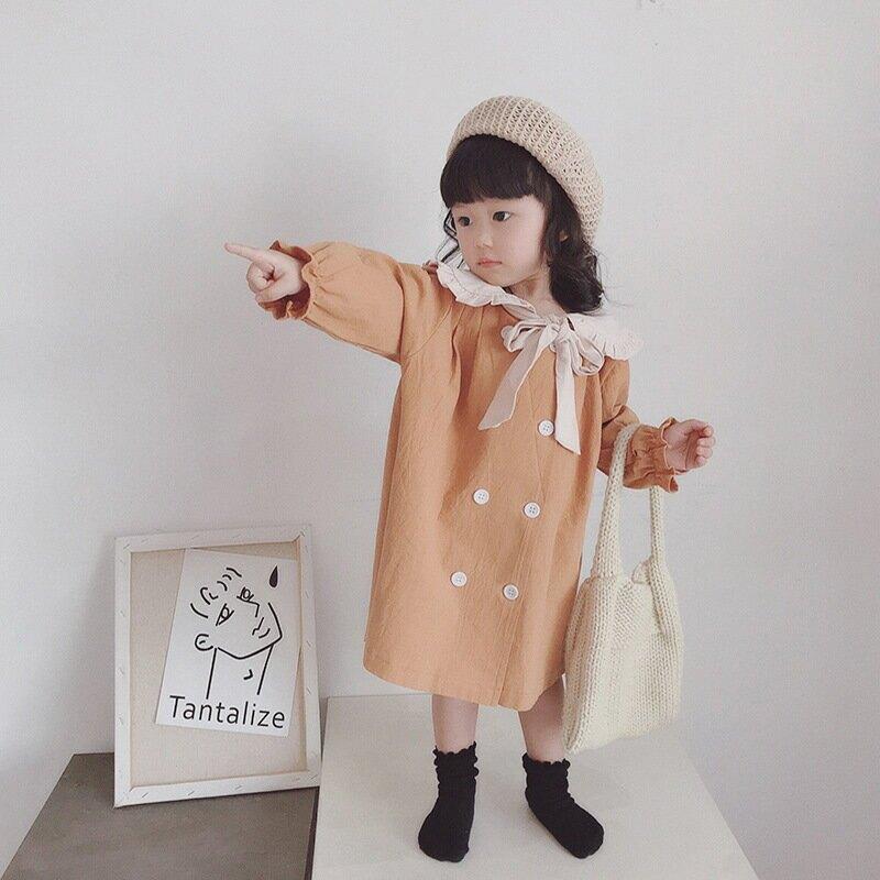 2021春新款女童連衣裙韓版娃娃領童裙兒童學院風裙子