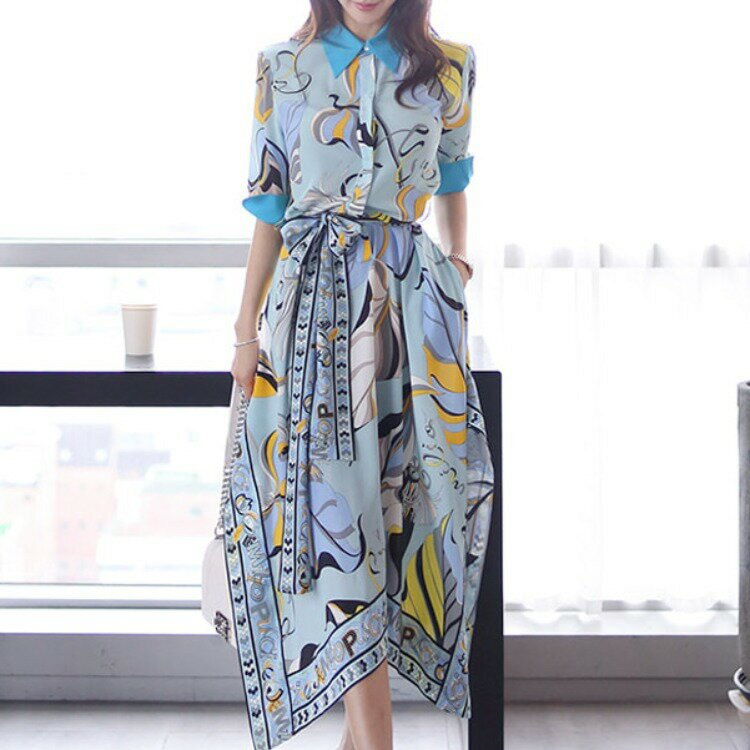 女裝2021新款名媛韓版氣質襯衫領收腰繫帶印花不規則連衣裙