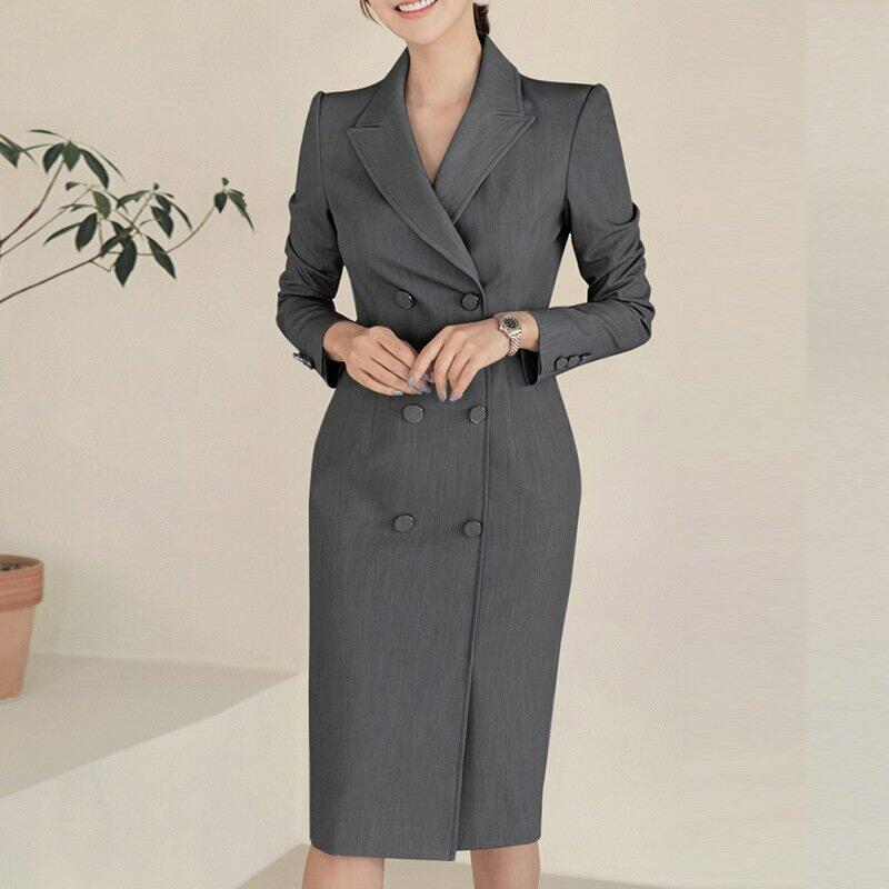 女裝2021西裝領連衣裙雙排扣OL修身顯瘦通勤正裝工作服