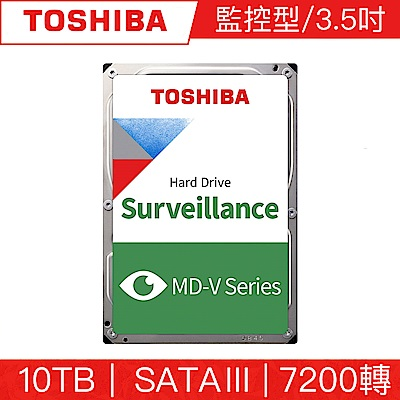 TOSHIBA東芝 10TB 3.5吋 SATAIII 7200轉AV影音監控硬碟 三年保固(MD06ACA10TV)