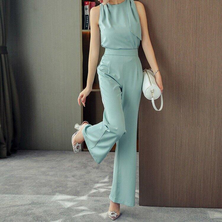 女裝套裝夏季氣質名媛寬鬆闊腿褲無袖圓領上衣兩件套