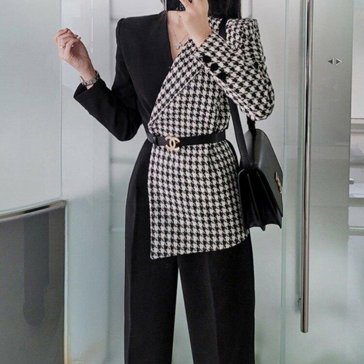 2021冬季新款韓版OL氣質修身拼接千鳥格西裝領職業連體褲女