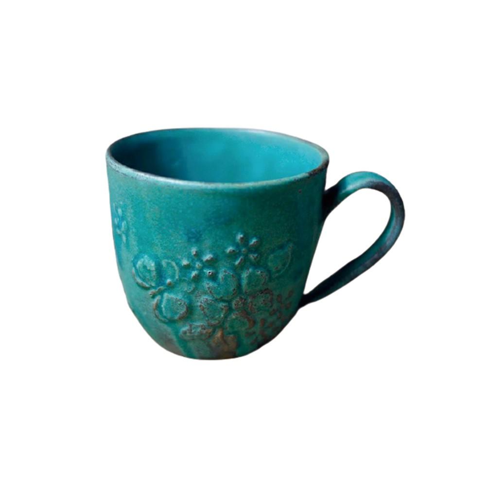 日本益子燒 - 花園燻雕紋馬克杯 - 青綠 -《日本原裝進口》【現貨】