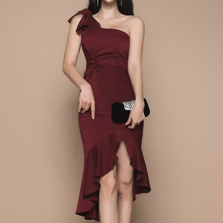 女裝新款名媛時尚修身無袖不規則荷葉邊收腰包臀連衣裙女