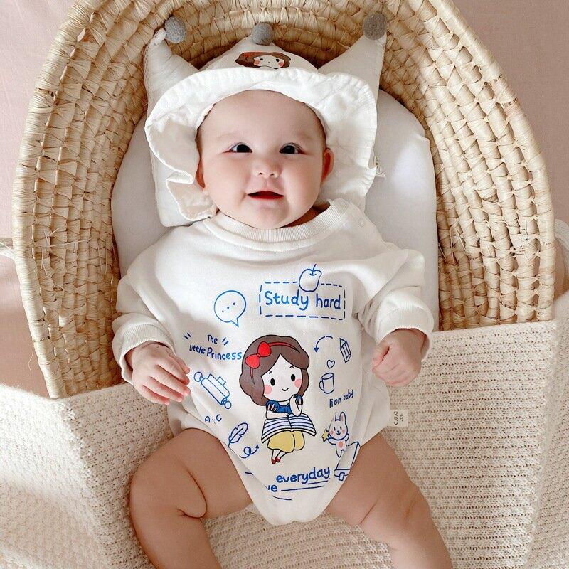 嬰兒連體衣寶寶衣服兄妹裝長袖卡通哈衣ins韓版爬服包屁衣 送帽子