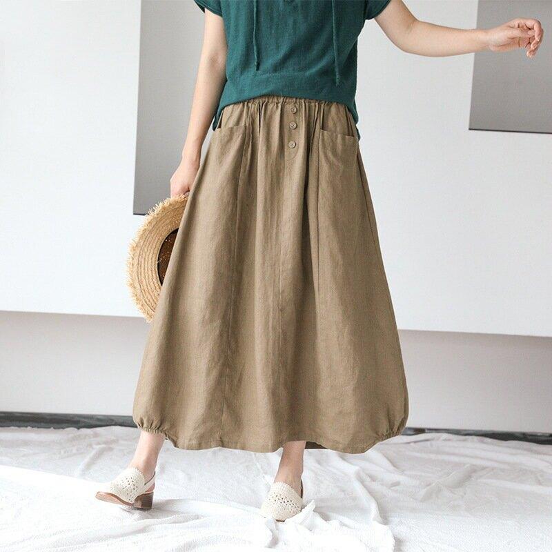 韓版顯瘦純色亞麻四粒扣半身裙新款寬鬆棉麻裙子女