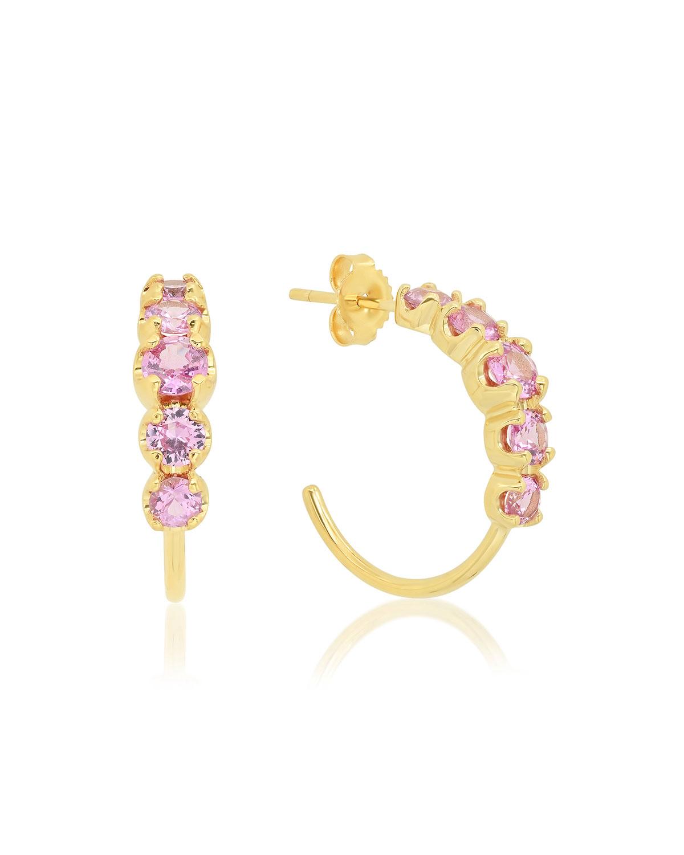 18k Gold Graduated Pink Sapphire Small Hoop Earrings
