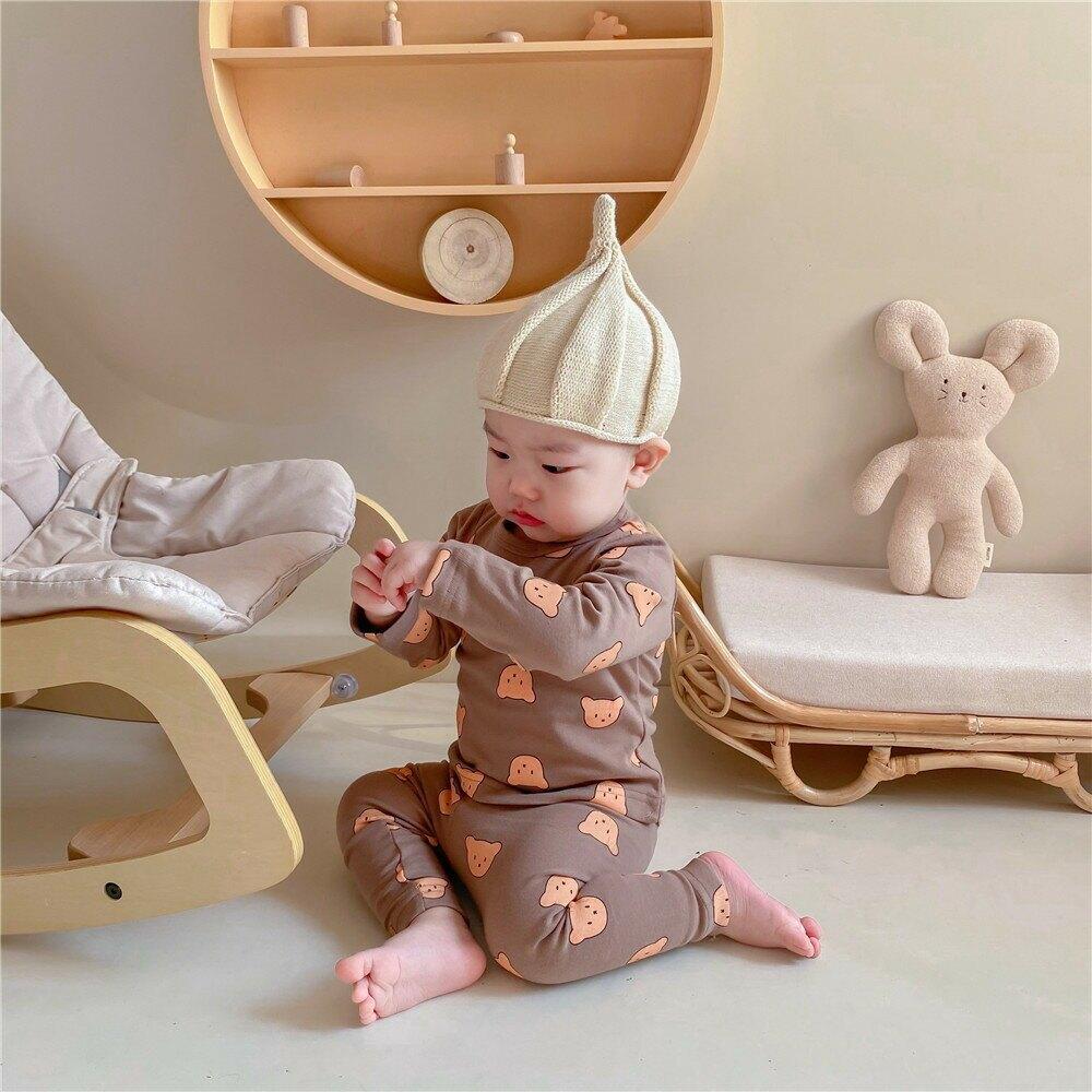 ins款印花熊頭寶寶套裝家居服嬰童打底兩件套
