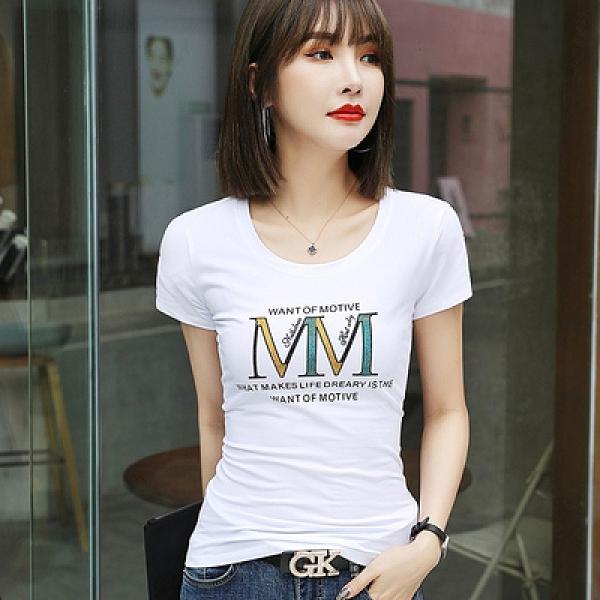 修身t卹女 M-4XL夏季款重工燙鑽短袖純棉修身體恤小衫FFA040-B3紅粉佳人