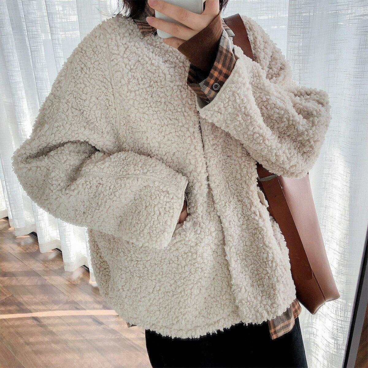秋冬新款韓版復古兩面穿圈圈顆粒絨羊羔毛厚寬鬆外套