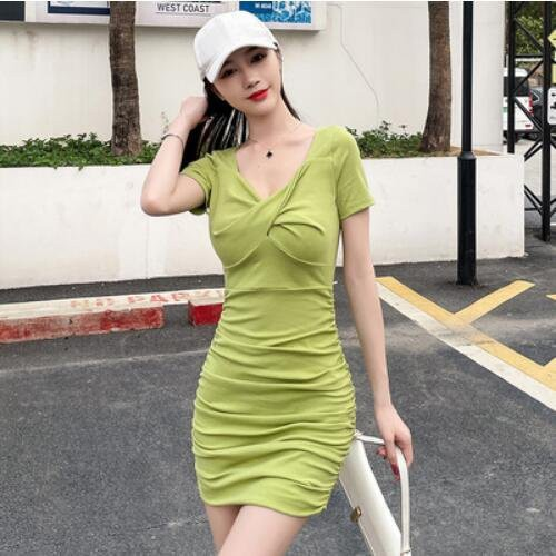 洋裝 性感裙 短袖 S-XL新款修身顯瘦性感氣質短袖包臀連身裙NE215D-6931.愛尚依人