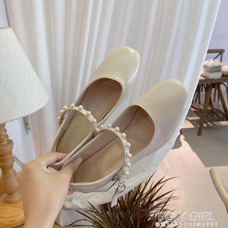 免運 優惠精選--法式文藝小單鞋女方頭百搭高跟鞋復古一字扣粗跟赫本瑪麗珍伴娘鞋 夏季新品