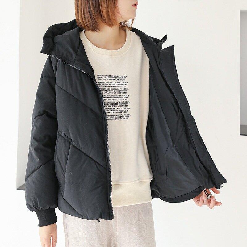303-1903冬裝2021韓版純色寬鬆休閒減齡保暖棉服連帽外套