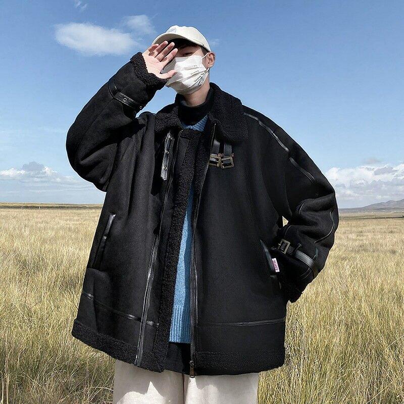冬季皮毛一體羊羔絨外套男潮牌中大尺碼寬鬆加厚棉衣港風ins潮流棉服