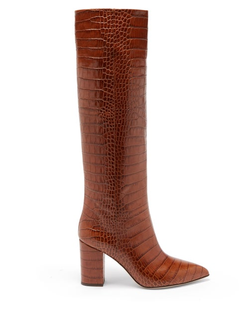 Paris Texas - Point-toe Crocodile-effect Leather Knee Boots - Womens - Brown