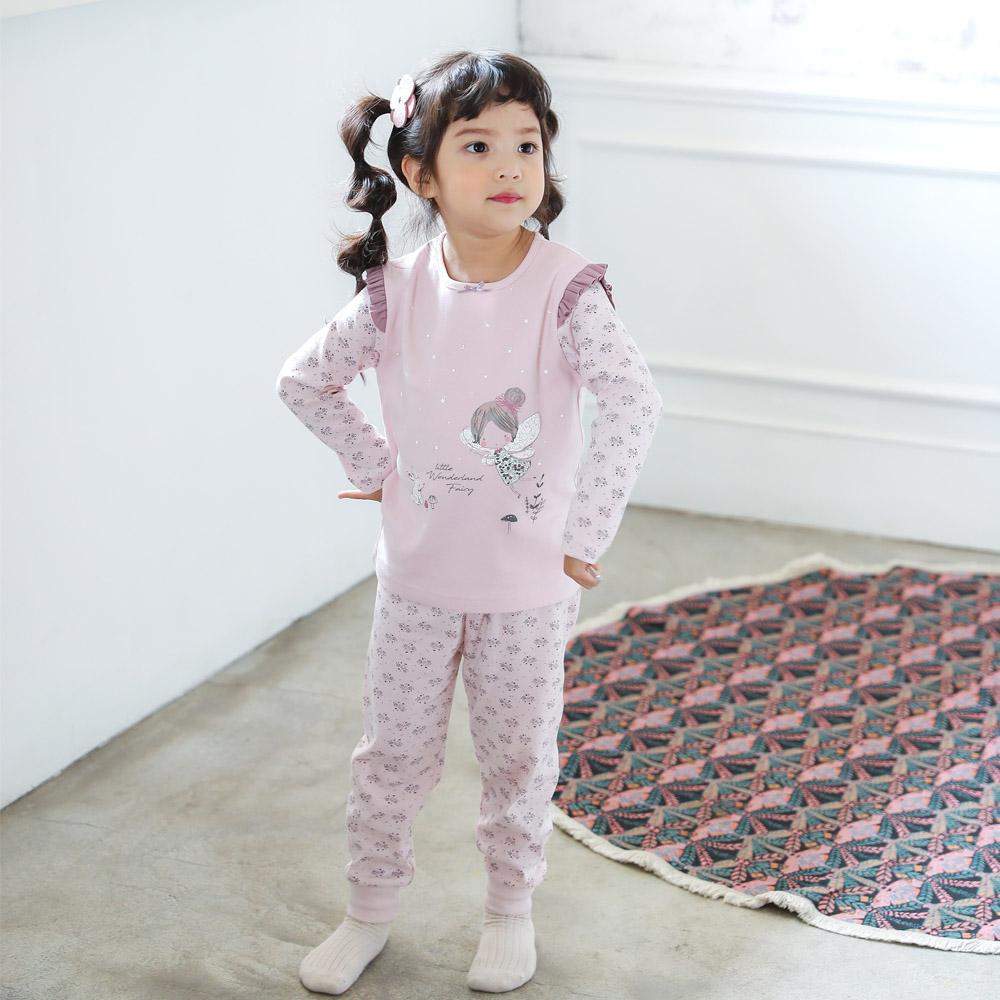 韓國兒童睡衣 2-7歲 九分袖家居服 粉蝴蝶  | 女童-正韓童裝【18F-2276FOSG】BA0402