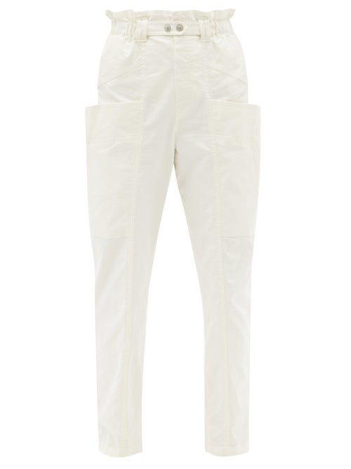 Isabel Marant - Enucie Paperbag-waist Linen-blend Tapered Trousers - Womens - Ivory
