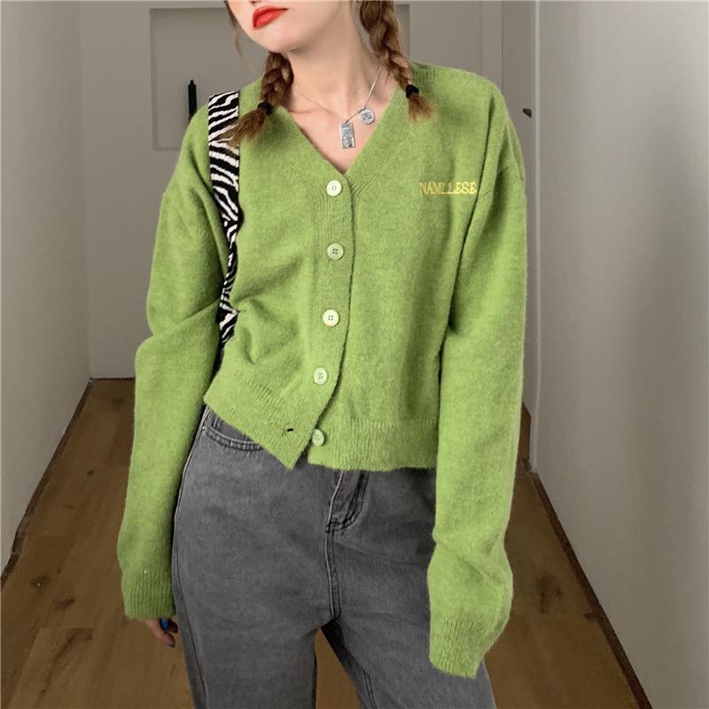 41977 韓版寬鬆顯瘦V領刺繡字母針織外搭長袖開衫外套上衣