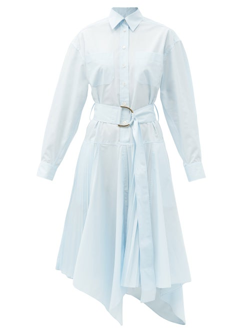 JW Anderson - Belted Asymmetric-hem Shirt Dress - Womens - Light Blue