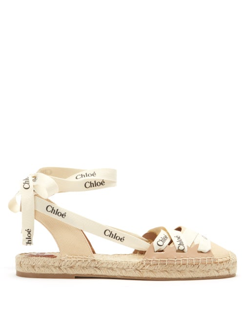 Chloé - Ingrid Logo-print Canvas And Leather Espadrilles - Womens - Cream Multi
