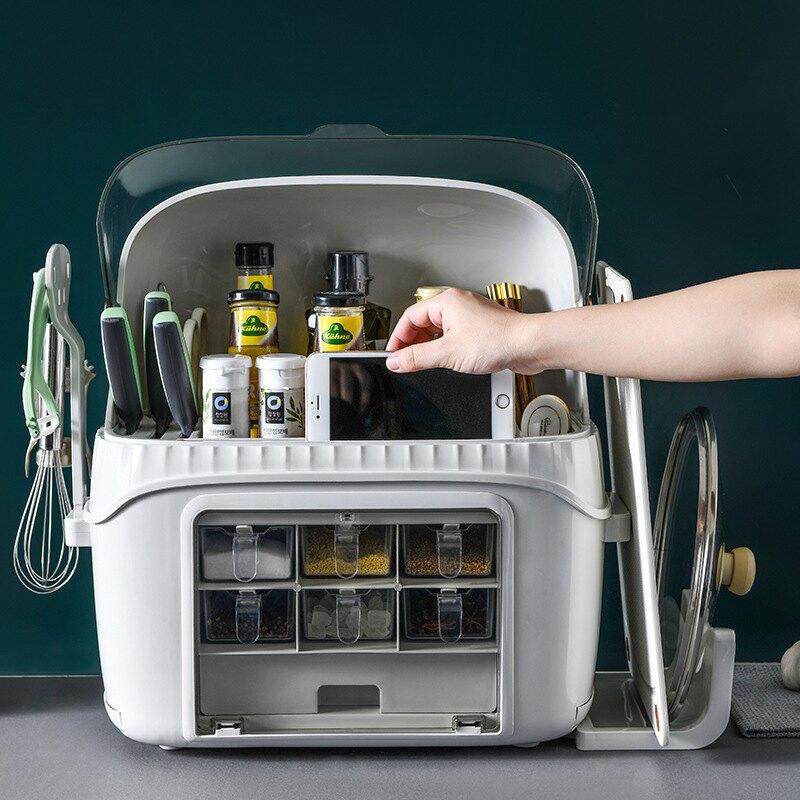 刀架廚房置物架調料用品 家用調味盒筷子廚具櫥柜灶臺臺面收納盒【艾莎嚴選】