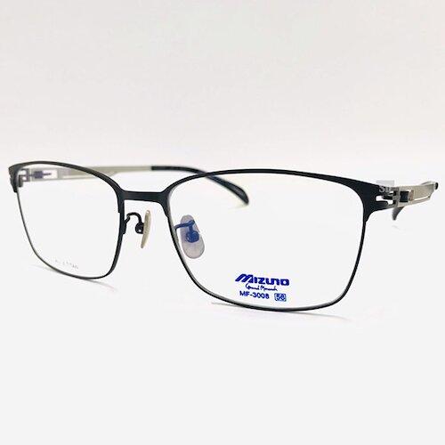 【MIZUNO】美津濃 鈦金屬 光學眼鏡鏡框 MF-3008 C15 薄鈦 大方框鏡框眼鏡 黑/銀 56mm
